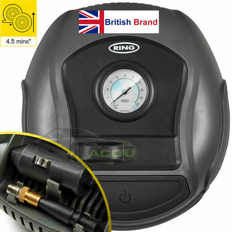 Ring RTC100 12v Plug Analogue Gauge Car Tyre Air Compressor Inflator Pump