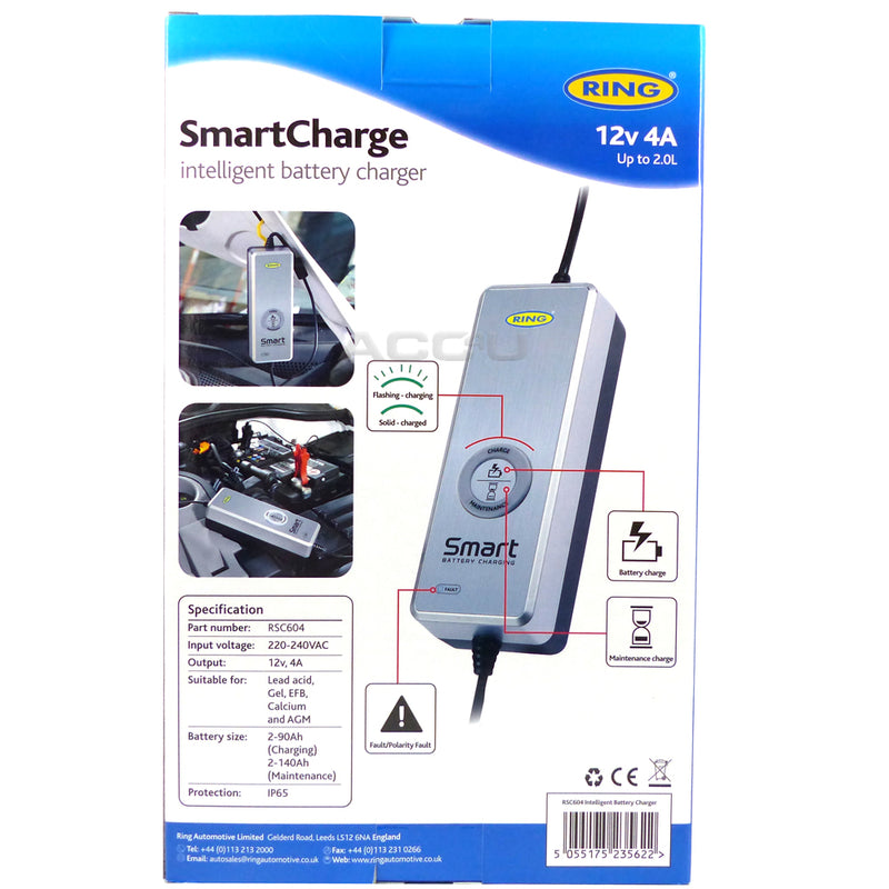 Ring RSC604 12v 4 Amp Start-Stop Car Multi Stage Automatic Smart Battery Charger