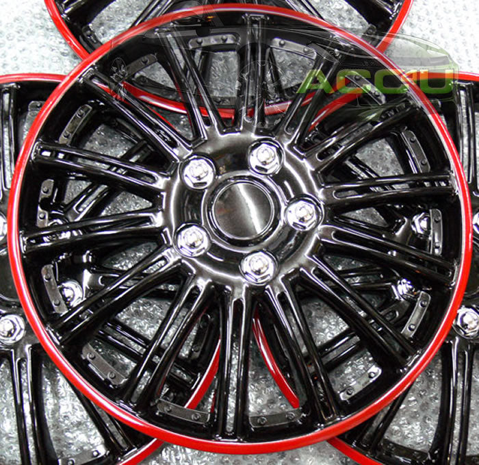 "14"" Gloss Black Lightning Red Ring Car Wheel Trims Hub Caps Covers Set+Dust Caps+Ties"