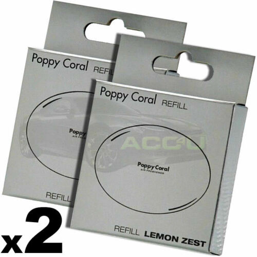 2 x Richbrook Poppy Coral Lemon Zest Scent Fragrance Car Air Freshener Refill Cartridge