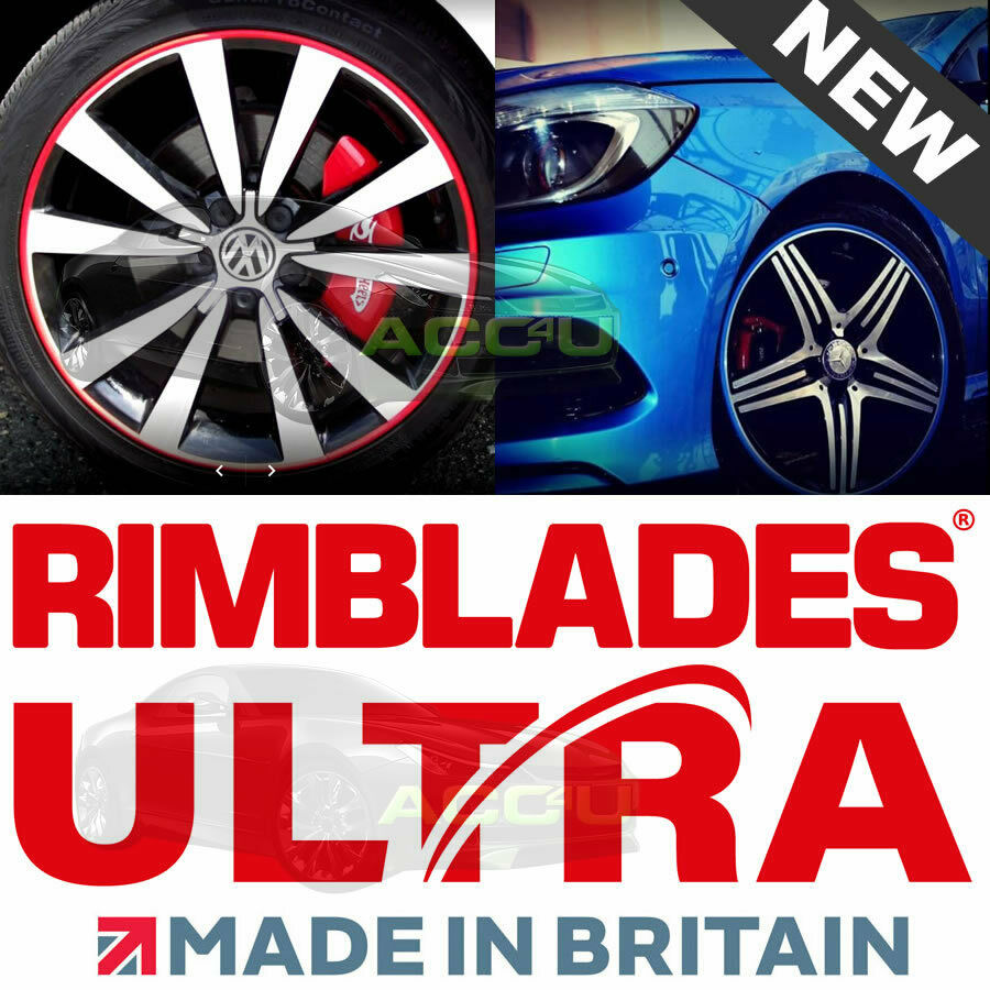Rimblades ULTRA BLACK Car 4x4 Alloy Wheel Rim Edge Protectors Styling Strip Kit