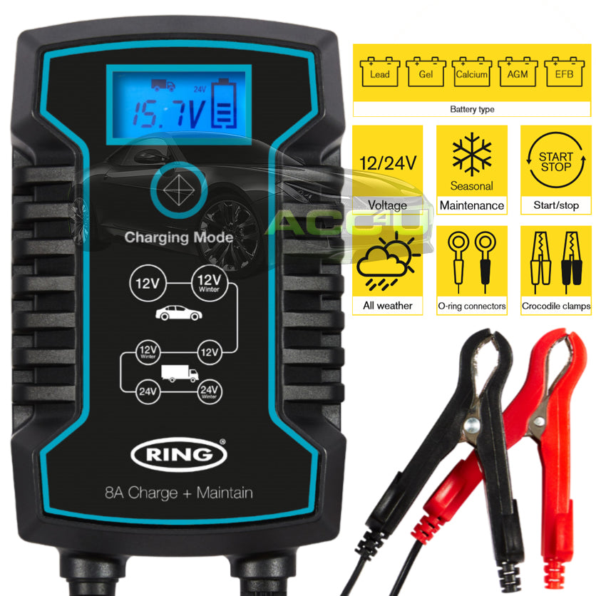 Ring RSC808 12v 24v 8A Start/Stop Car Van Truck Smart Battery Charger & Maintainer