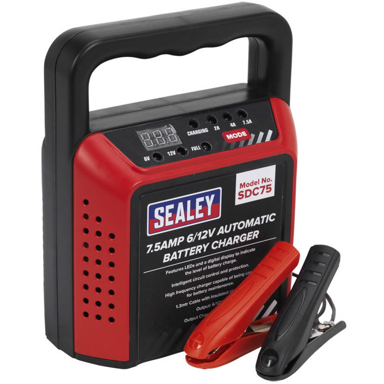 Sealey SDC75 6v 12v 7.5 Amp Car Van Bike Boat Compact Automatic Battery Charger