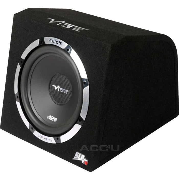 "Vibe Slick SLR12A V2 12"" inch 1200w Car Active Amplified Subwoofer Sub Bass Box Enclosure"