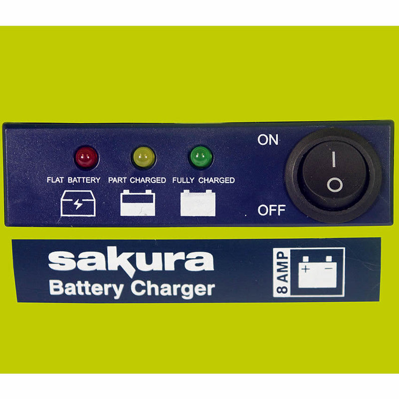 Sakura 12v 8A 3 Step Compact Up To 2500cc Car Van 15Ah to 120Ah Battery Charger