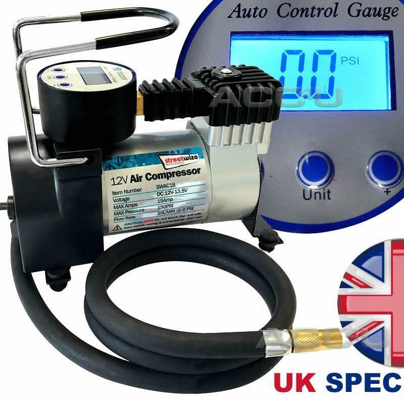 SW 12v Hi Speed Auto Cut-Off Digital Car Tyre Air Compressor Inflator Pump SWAC18