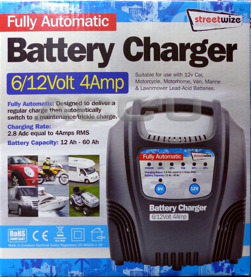 6v 12v 4 Amp Car Van Bike 12Ah to 60Ah Fully Automatic Battery Charger