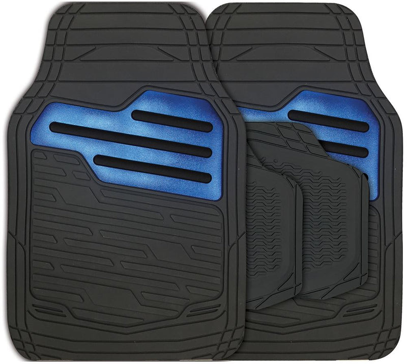 Adonia Black Metallic Blue Heel Pad Heavy Duty Car Rubber Mats Set Of 4