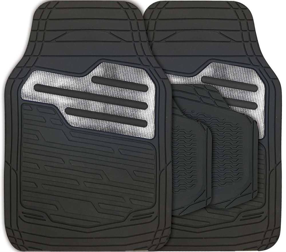 Adonia Black Metallic Carbon Heel Pad Heavy Duty Car Rubber Mats Set Of 4