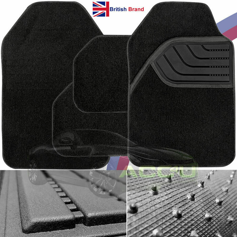Luxury Deep Pile Thick Black Carpet Rubber Heal Car Front Rear Mats Set Of 4