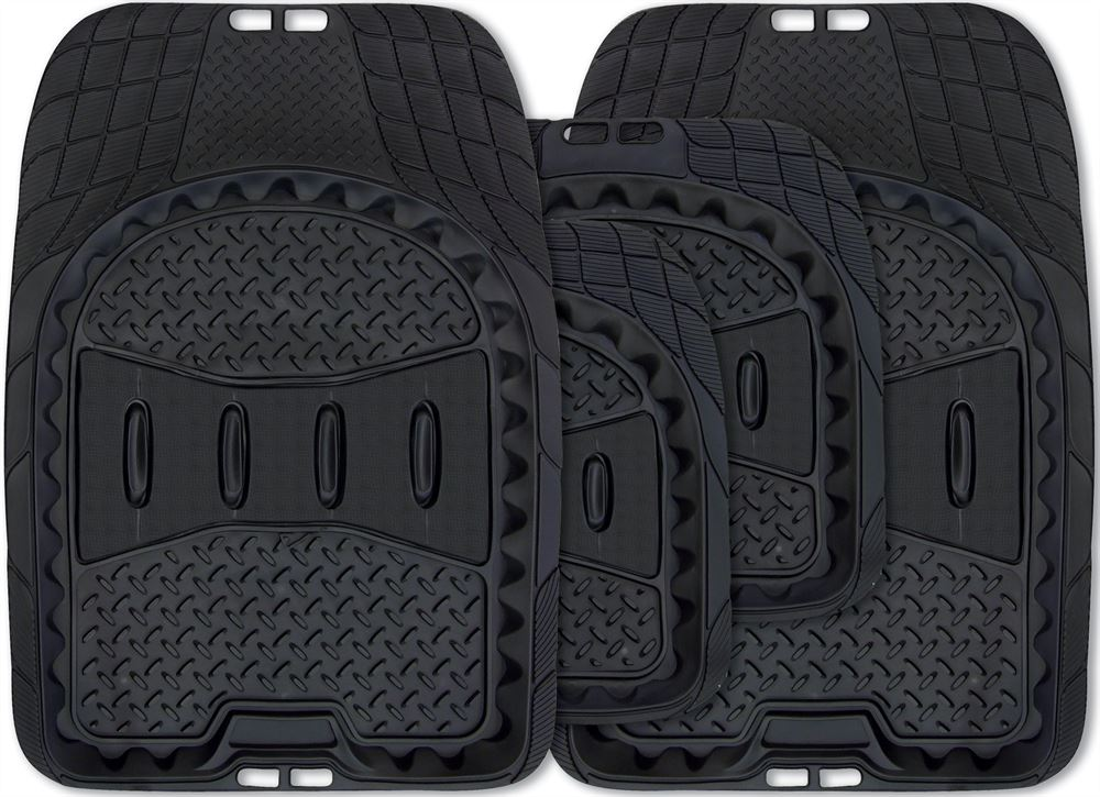 Car Trimmable All Terrain Weather Heavy Duty Tray Style Black Rubber Mats Set Of 4