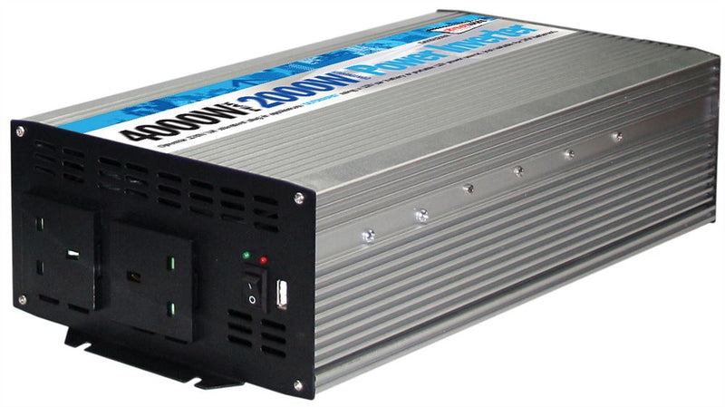 12v Car Battery to 230v Home Mains Socket USB 4000w Peak Power Inverter SWINV2000