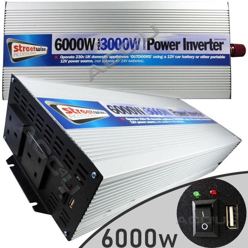 12v Car Battery to 230v Home Mains Socket USB 6000w Peak Power Inverter SWINV3000