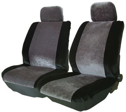 Alpha Grey Black Velour Style Fabric Lo Back Car Front Pair Only Seat Covers Set