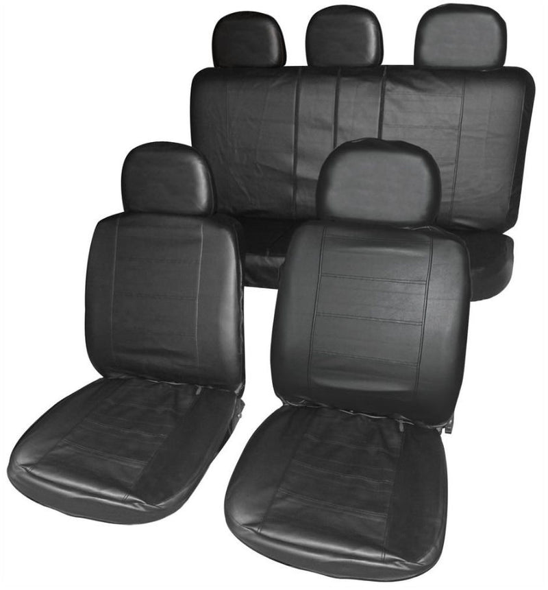 California Black Leather Look Airbag Friendly Car Taxi 50-50 60-40 Split Rear Seat Covers Set