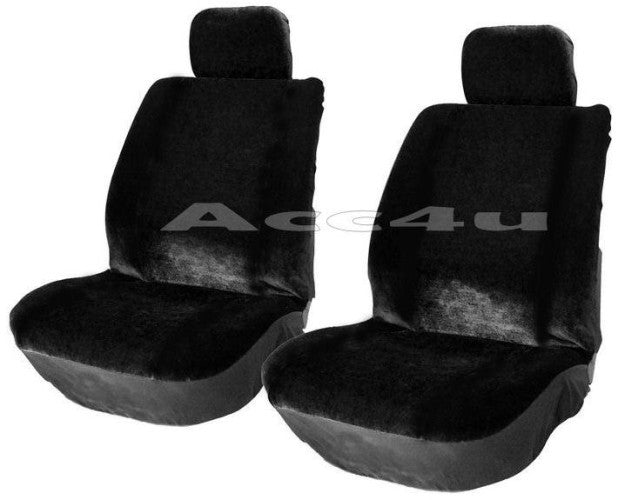Alpha Black Velour Style Fabric Lo Back Car Front Pair Only Seat Covers Set