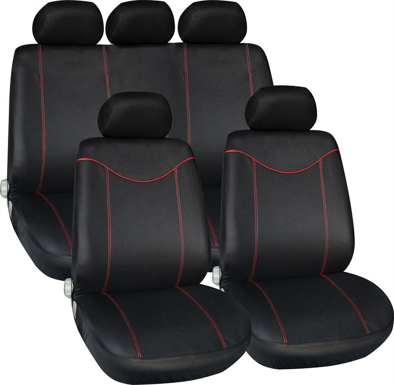 Alabama Black Red Stitching Airbag Friendly Car 50-50 60-40 Split Rear Seat Covers Set