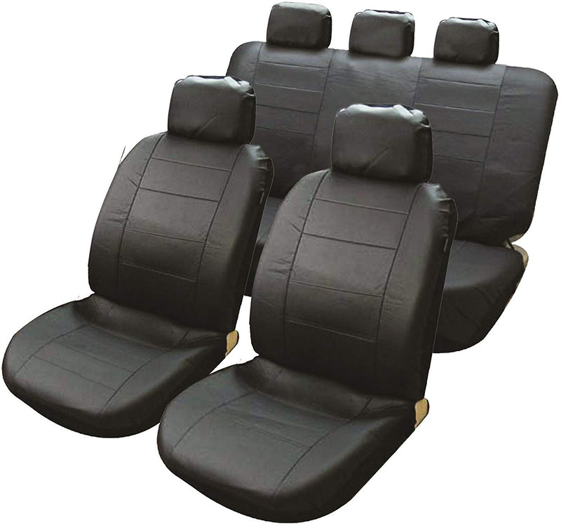 Connecticut Black Leather Look Airbag Friendly Car Taxi 50-50 60-40 Split Rear Seat Covers Set