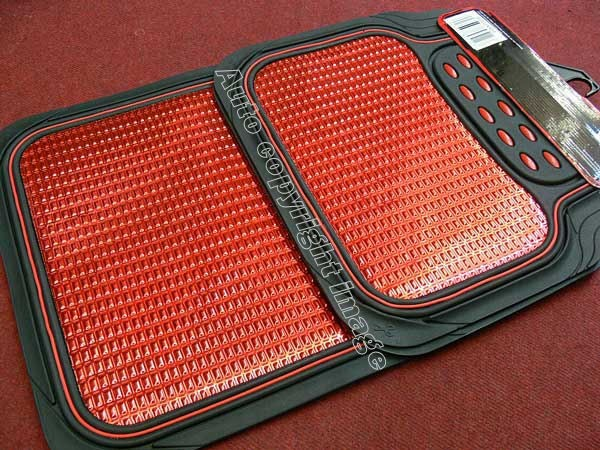 Revelation Shiny Red Metallic Checker Effect Heavy Duty Car Black Rubber Mats Set of 4