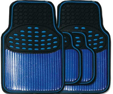 Revelation Shiny Blue Metallic Checker Effect Heavy Duty Car Black Rubber Mats Set of 4