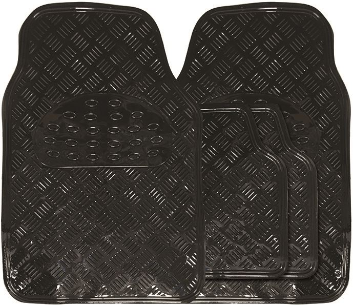 Shiny Black Chrome Look Checker Style Effect Car Rubber Floor Mats Set Of 4