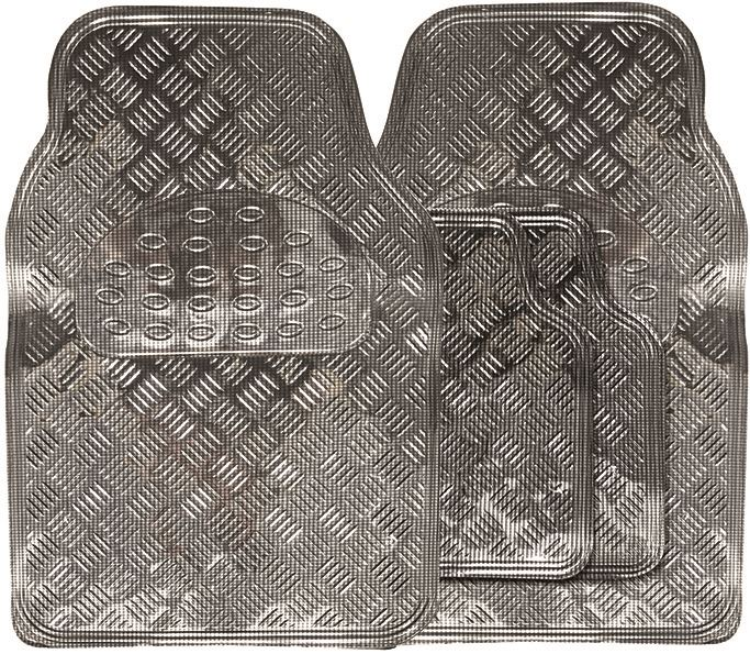 Shiny Carbon Chrome Look Checker Style Effect Car Rubber Floor Mats Set Of 4