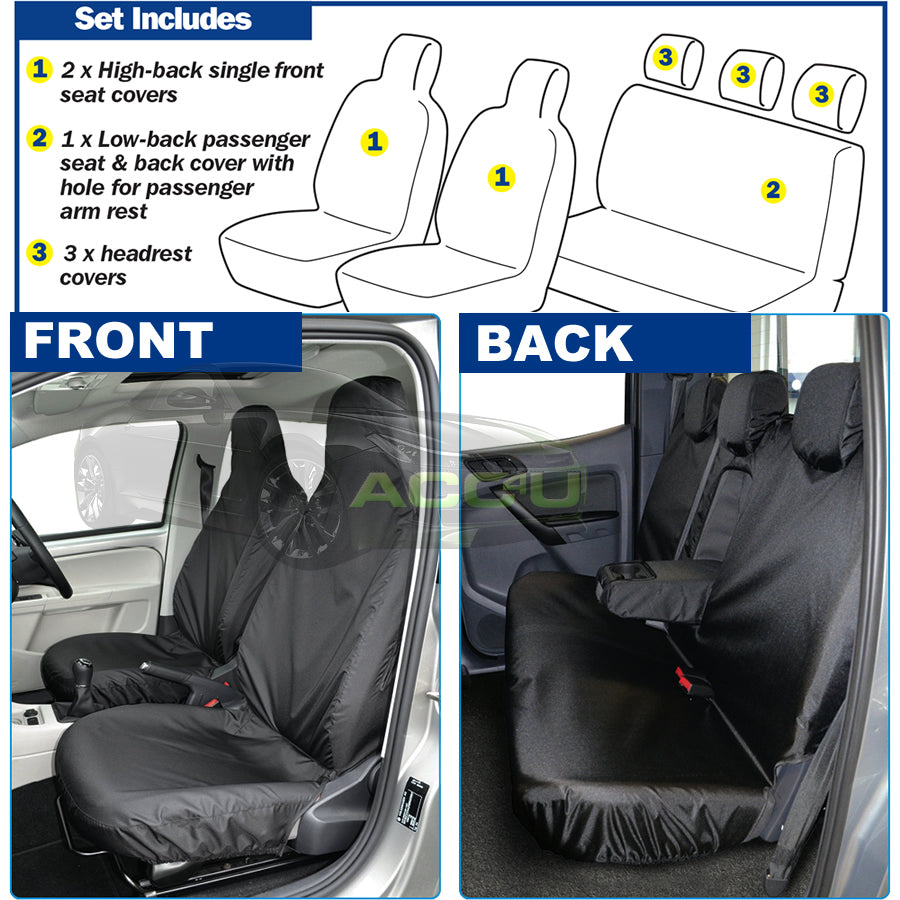 For Nissan Navara Pick Up Truck Semi Tailored Heavy Duty Waterproof Seat Covers Set