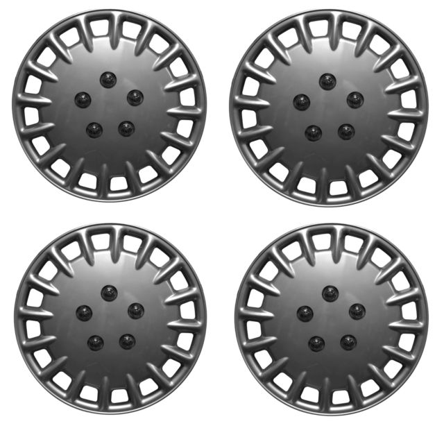 "16"" Silver Multi Spoke Design Car Wheel Trims Hub Caps Covers Set+Dust Caps+Ties"