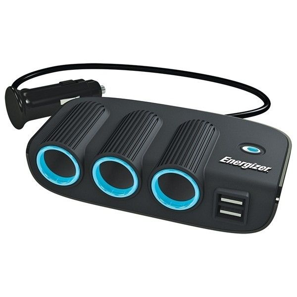Energizer 50505 12v 24v 3 Way Car Lighter Multi Socket Twin USB Charger Power Adapter