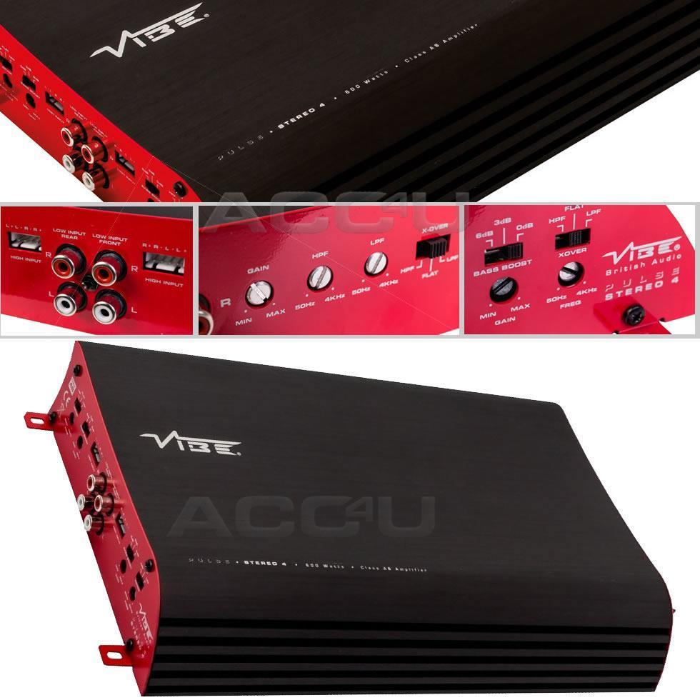 Vibe Audio PULSE S4 Stereo 4 600w 4 / 3 / 2 Multi Channel Car Bass Amp Amplifier