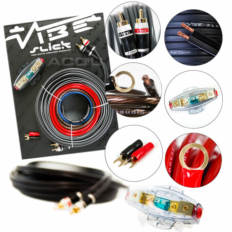 Vibe Audio Slick 8 Awg Gauge 1500 Watts System 12v Car Amp Amplifier Wiring Kit