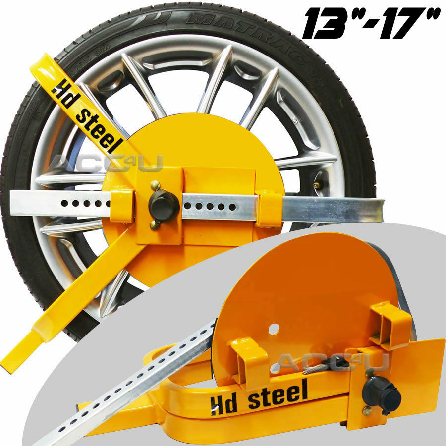 "HD Steel 13"" 14"" 15"" 16"" 17"" Caravan Van Motorhome Car Security Wheel Clamp Lock"
