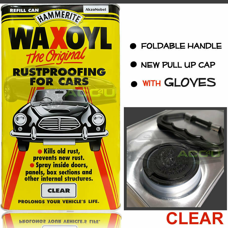 Hammerite Waxoyl CLEAR Car Underbody Seal Rust Proofing Treatment 5 LITRE Can+Gloves