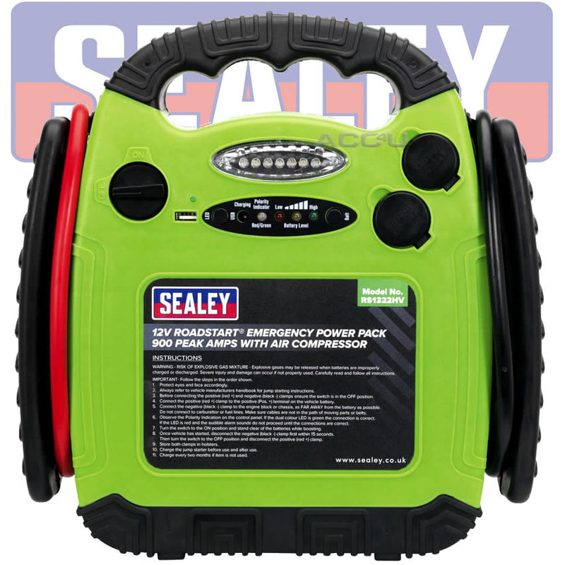 Sealey RS1322HV 12v 900A Portable Car Battery Jump Starter Air Compressor Power Pack