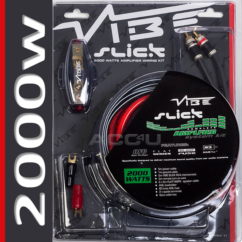 Vibe Audio Slick 12v 4 Awg Gauge 2000 Watts System Car Amp Amplifier Wiring Kit