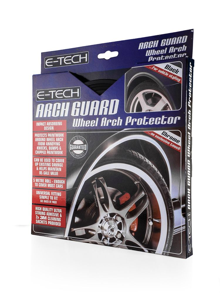 E-Tech CHROME Car Wheel Arch Guard Paintwork Protector Strip 5 Meter Adhesive Roll
