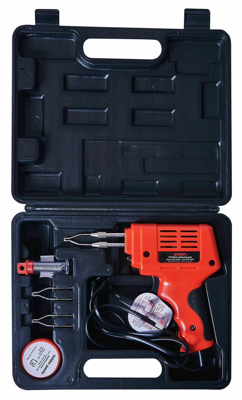 Amtech 230V 175W Electric Soldering Iron Gun With Solder, Flux, Tips Kit In Case