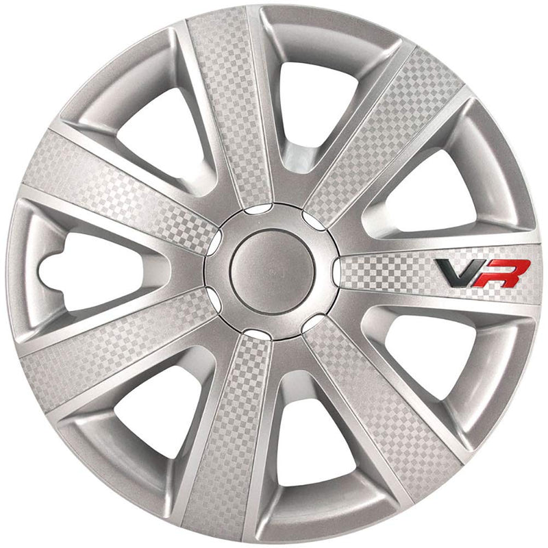 "16"" VR Silver Carbon Fibre Look Car Wheel Trims Hub Caps Covers Set+Dust Caps+Ties"