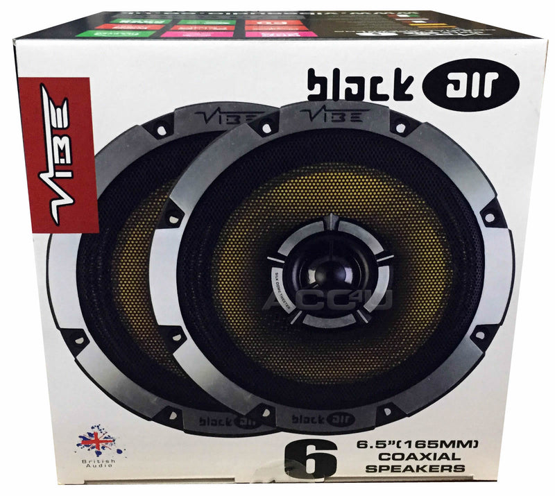 "Vibe BlackAir 6 BA6-V1 6.5"" inch 165mm 2-Way Car Door Shelf Coaxial Speakers Set"