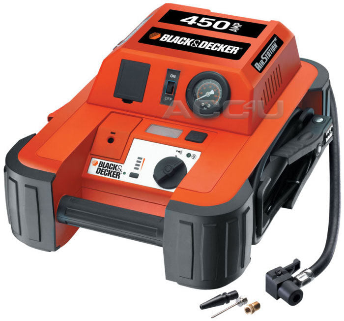 Black & Decker Portable 12v 450A 5500cc Car Battery Jump Starter Air Compressor