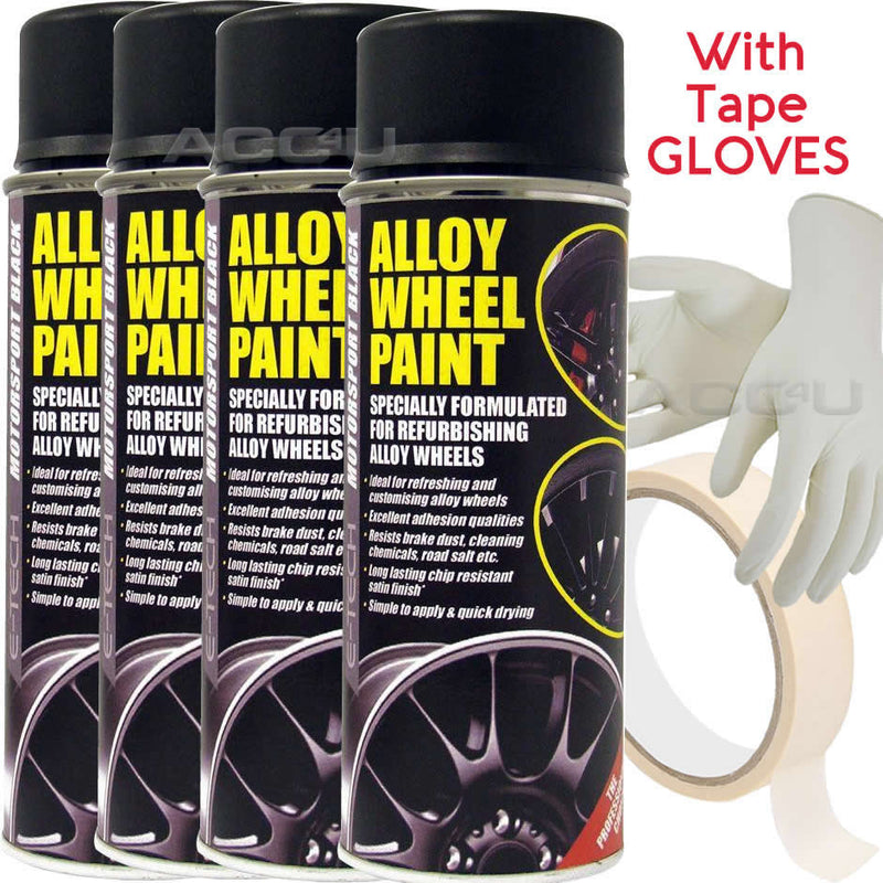 E-Tech MOTORSPORT BLACK Car Alloy Wheel Wheels Refurbishment Spray Paint Can