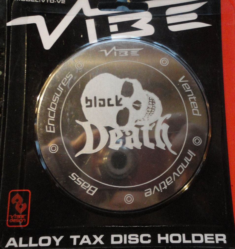 Vibe Audio Black Death Skull Logo Magnetic Alloy Round Car License Tax Disc Holder