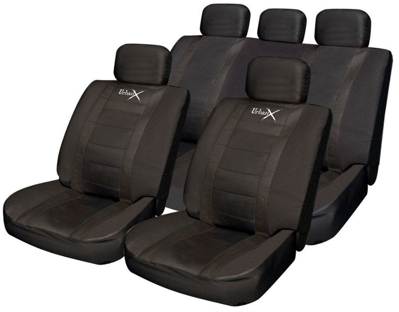 Urban X Black Leather Look Airbag OK Car 50-50 60-40 Split Rear Seat Covers Package Set
