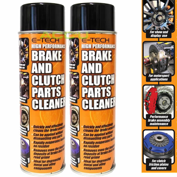 2 x E-Tech High Performance Car Brake Pads & Clutch Parts Assembly Cleaner Spray