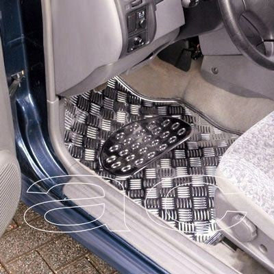 Shiny Silver Chrome Look Checker Style Effect Car Rubber Floor Mats Set of 4