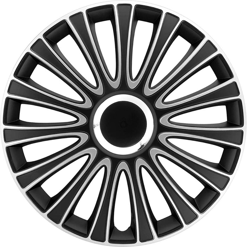 "14"" Black Silver LeMans Multi Spoke Car Wheel Trims Hub Caps Covers Set+Dust Caps+Ties"