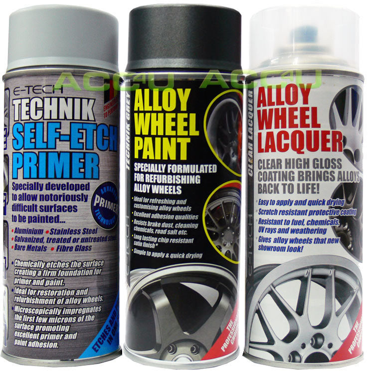 E-Tech TECHNIK GREY Car Alloy Wheel Spray Paint+Clear Lacquer+Self Etch Primer Package