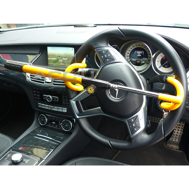 For Mercedes Benz Car Double Claw Anti Theft Security Yellow Steering Wheel Lock
