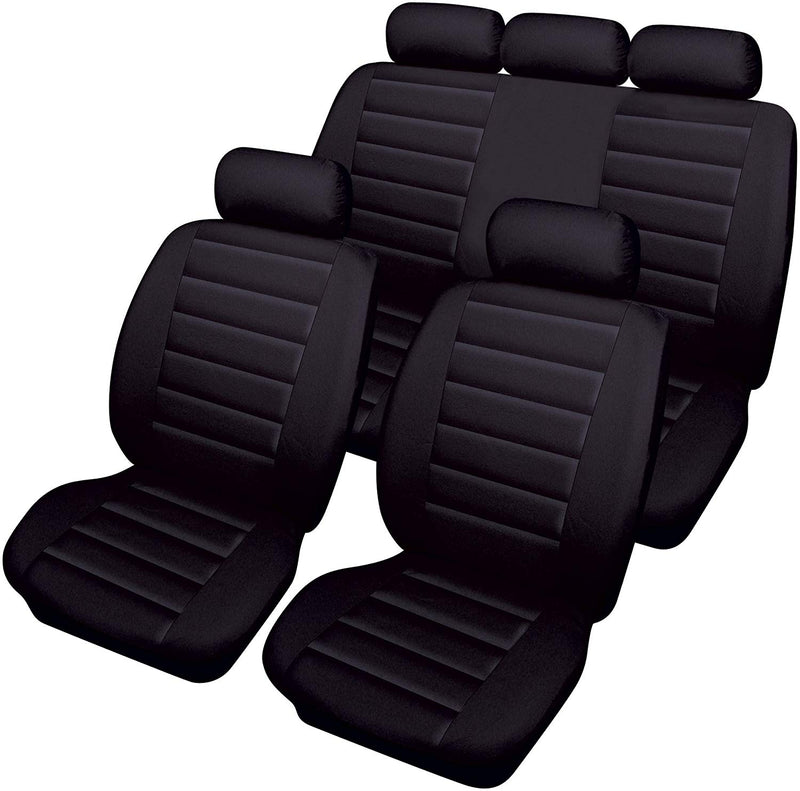 Carrera Black Soft Supple Quilted Leather Look Airbag Friendly Car Seat Covers Full Set