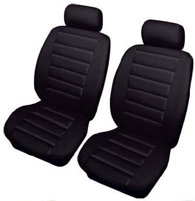 Black Soft Supple Quilted Leather Look Airbag Friendly Car Front Pair Only Seat Covers Set